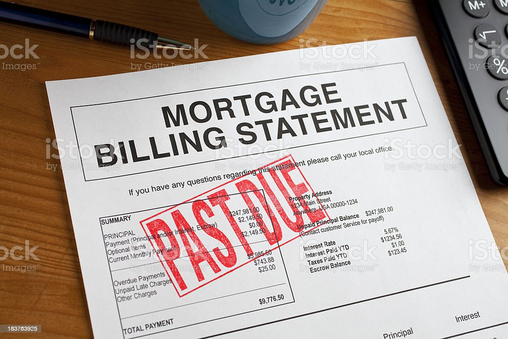 Past Due Mortgage statement on a desk. stock photo