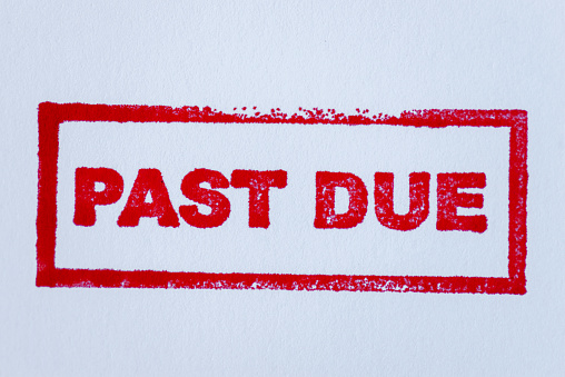 Past due on the white background.