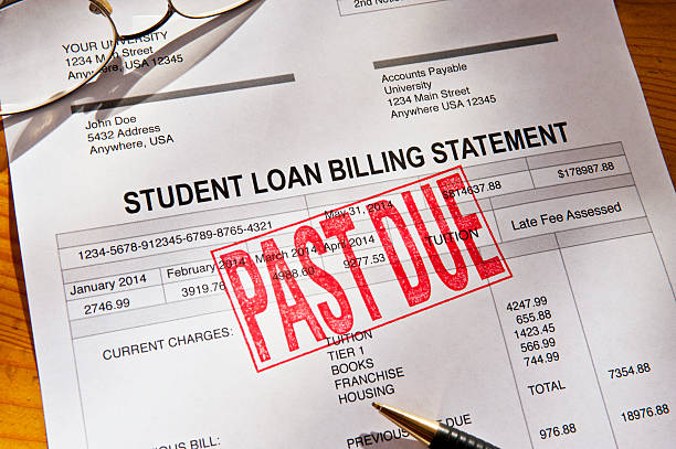 Past Due Student Loan Paperwork stock photo