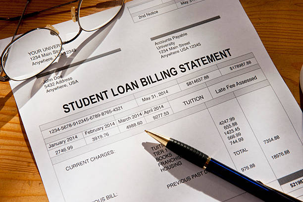 Past Due Student Loan Statement and Paperwork stock photo