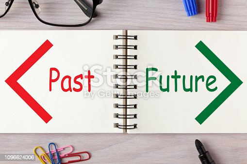 Past and Future words written on open spiral notebook and various stationery. Business Concept