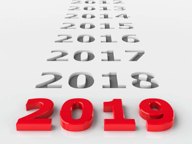 2019 past 2019 past represents the new year 2019, three-dimensional rendering, 3D illustration 2017 stock pictures, royalty-free photos & images