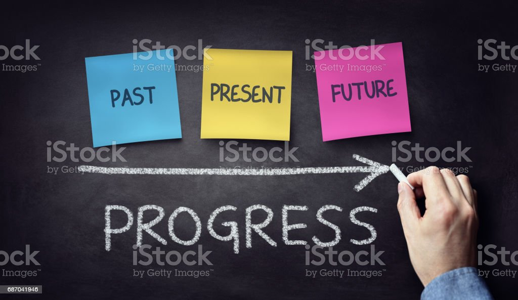 Past present and future time progress concept on blackboard or chalkboard stock photo