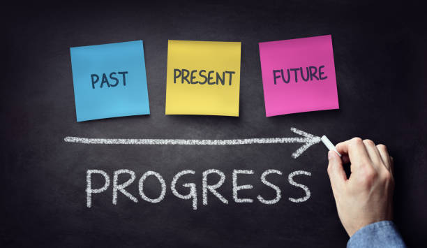 past present and future time progress concept on blackboard or chalkboard - timeline - fotografias e filmes do acervo