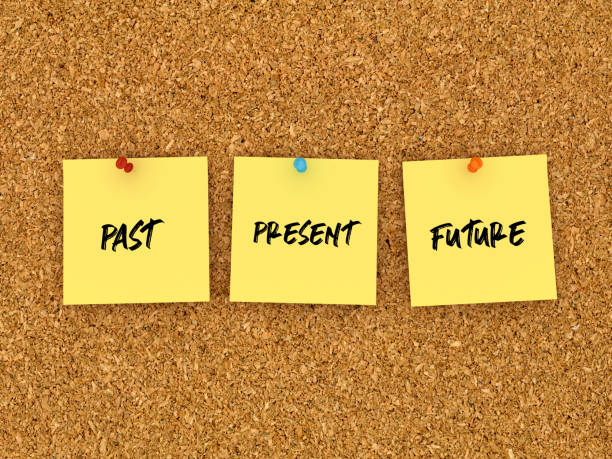 past present future sticky notes on corkboard - 3d rendering - timeline стоковые фото и изображения