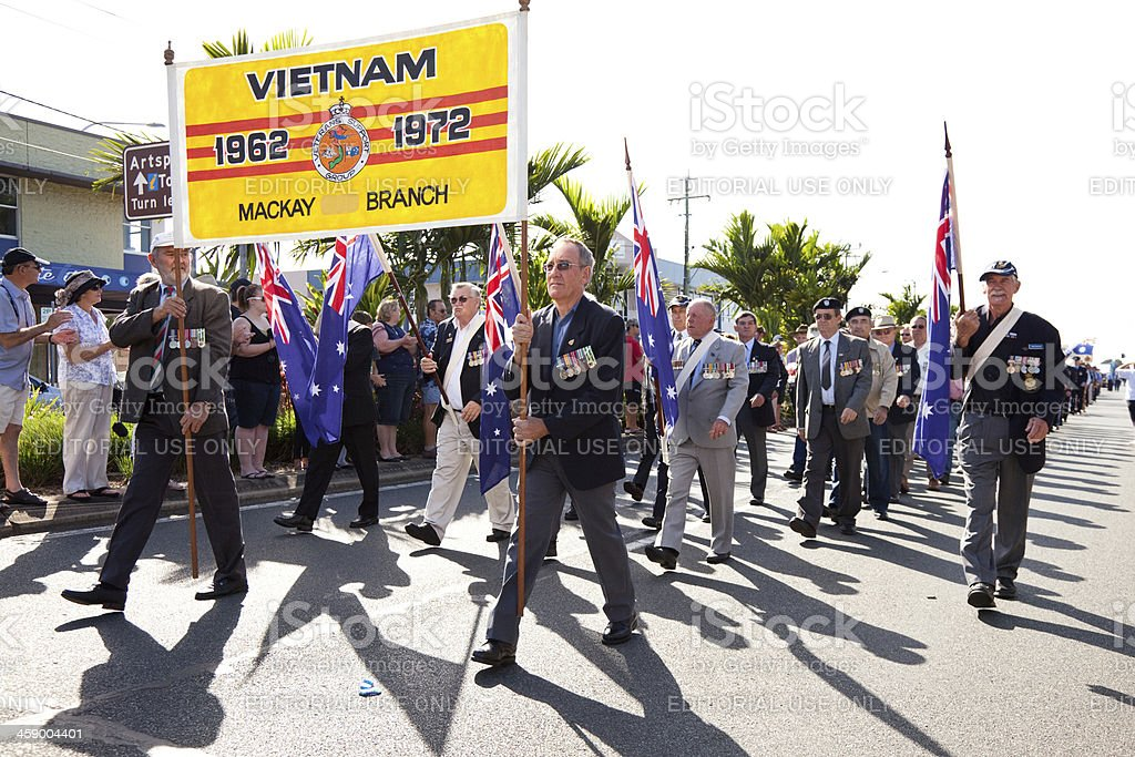 Past Servicemen Marching at Anzac Day March Parade royalty-free stock photo