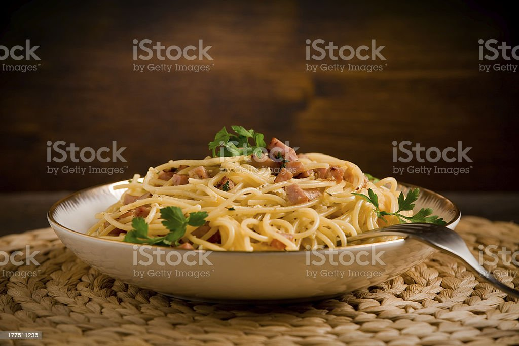 Pasta alla carbonara stock photo