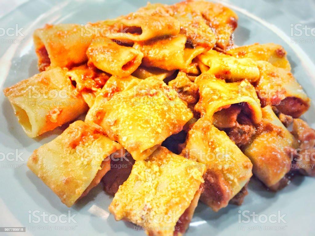 Pasta amatriciana stock photo