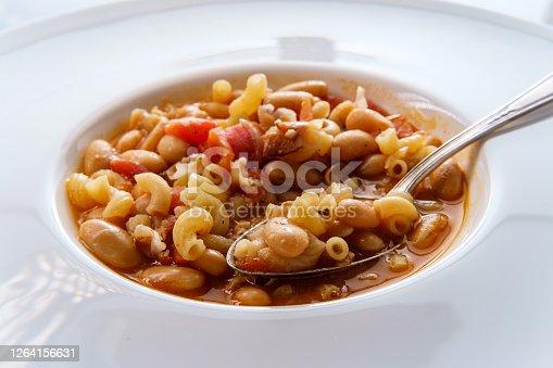 Traditional Italian peasant bean soup pasta e fagioli with gluten-free elbow macaroni noodles