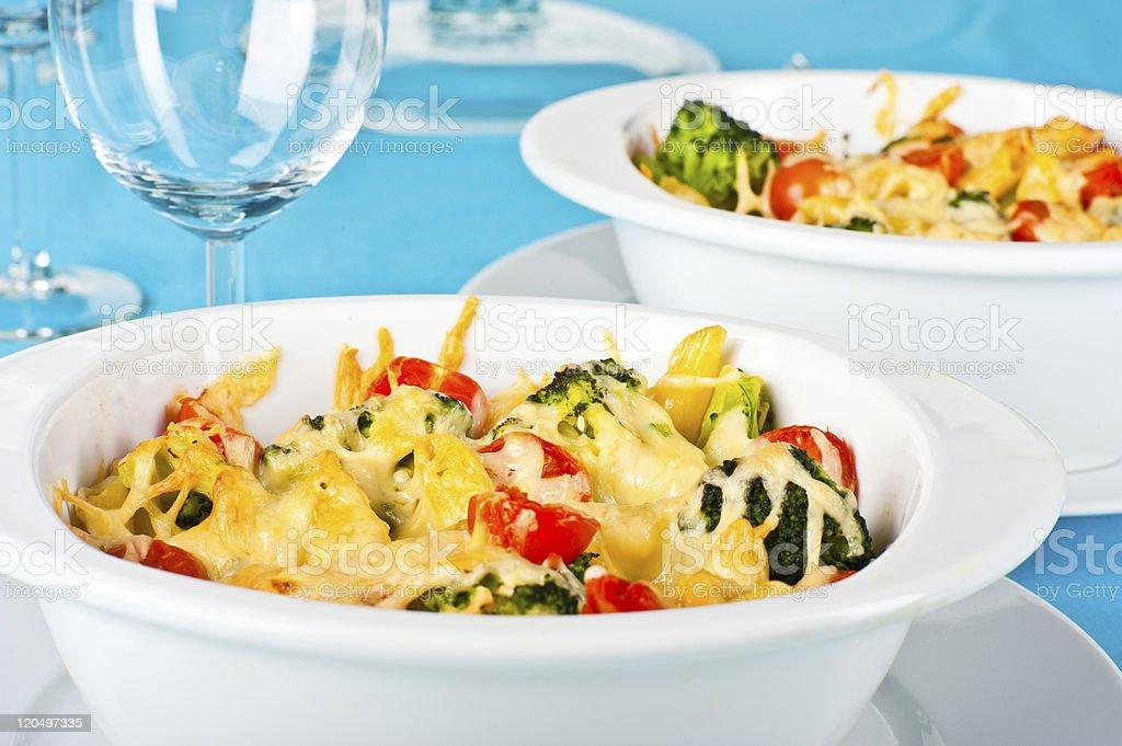 Pasta and broccoli bake royalty-free stock photo