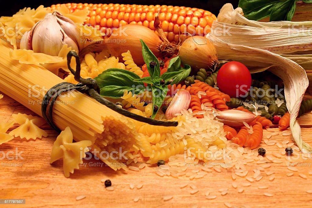 Pasta and corn stock photo