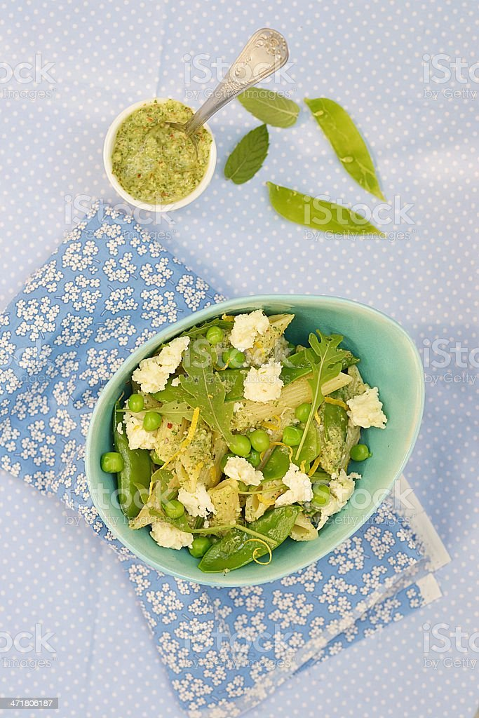 pasta and green peas salad royalty-free stock photo