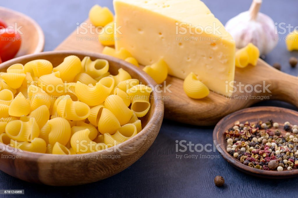 Pasta and ingredients for cooking stock photo