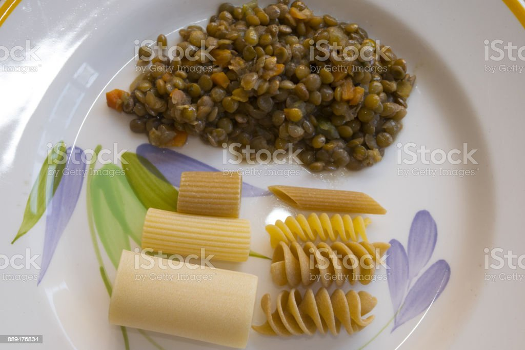 pasta and lentil soup stock photo