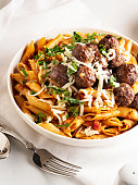 Italian Culture, Appetizer, meatball, Beef, Lunch, Pasta, Penne, Meal,food,Macaroni,Crockery,food and drink, dinner