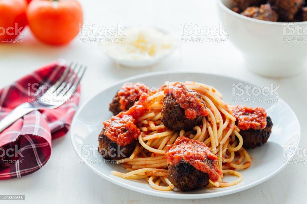 pasta and meatballs stock photo