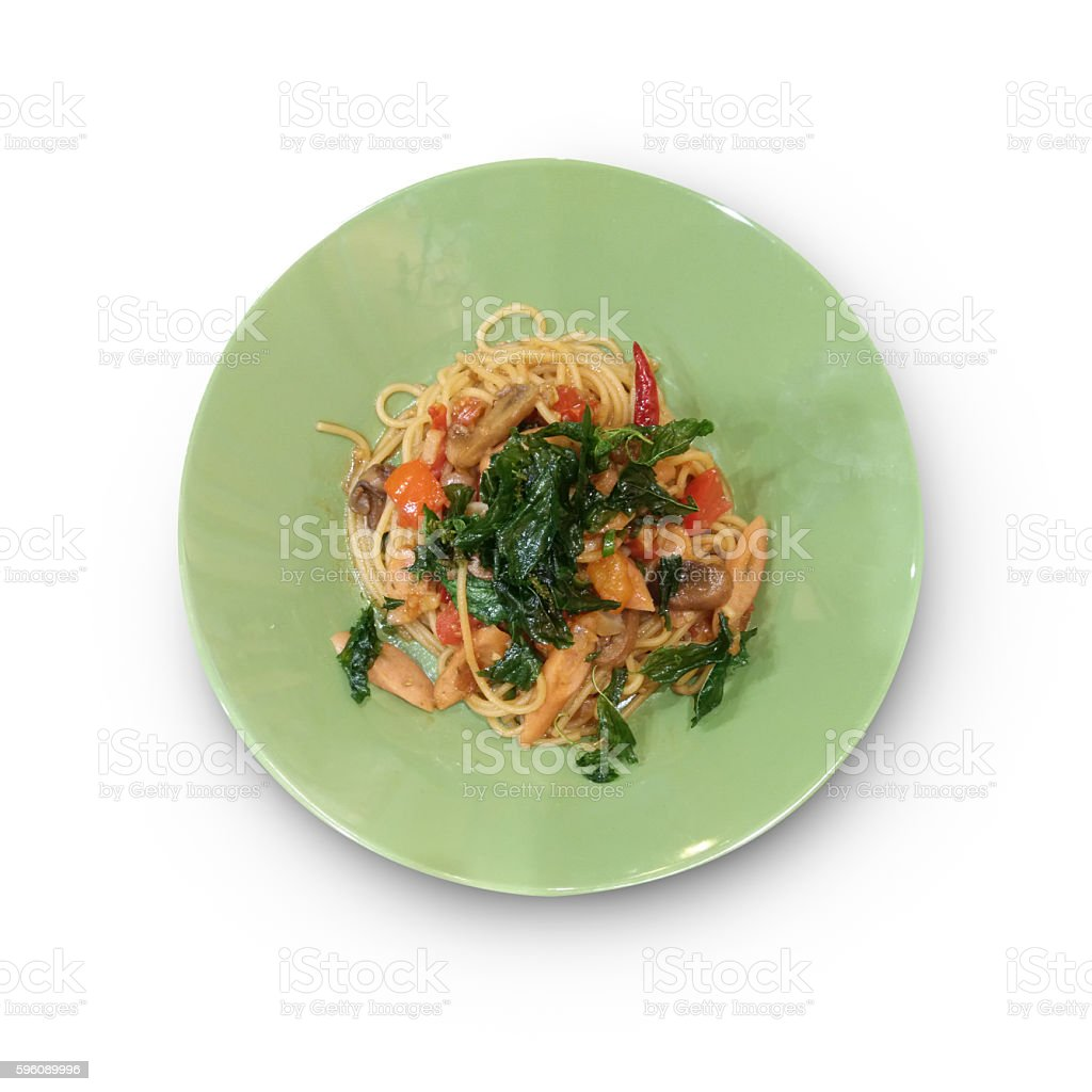 Pasta and meatballs. Top view as background isolate on white royalty-free stock photo