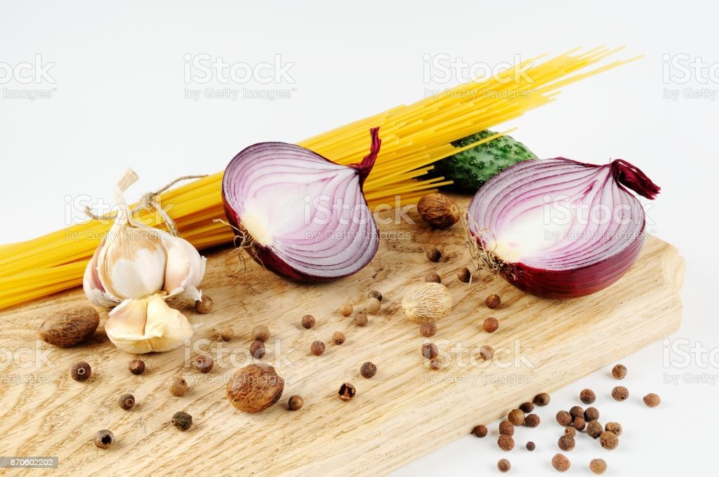 Pasta and Onion stock photo