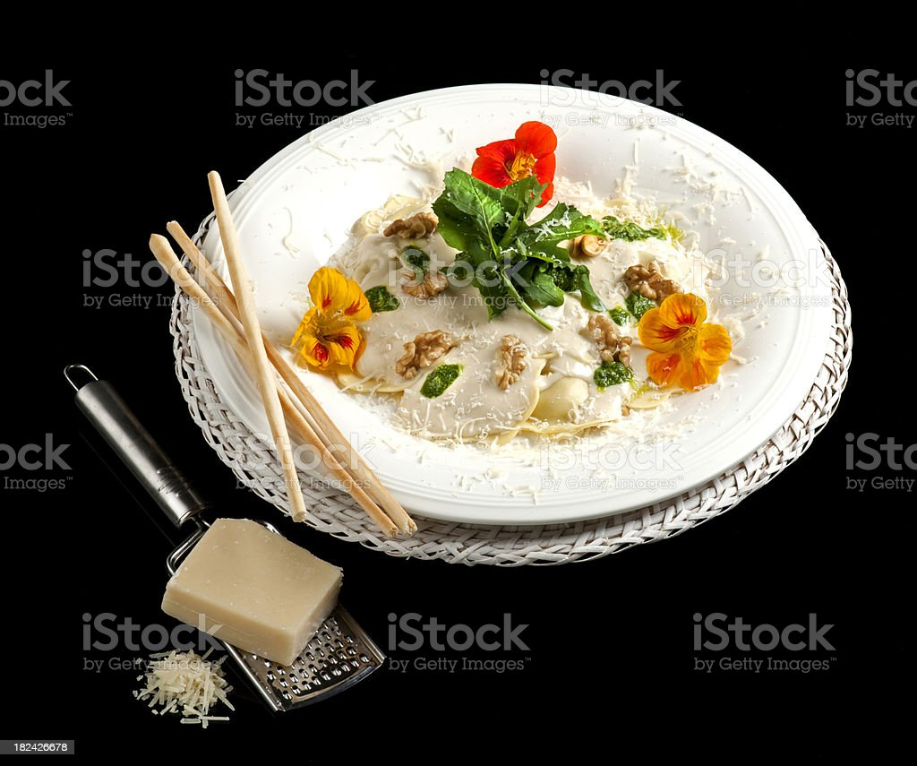 Pasta and Parmesan with Walnuts royalty-free stock photo