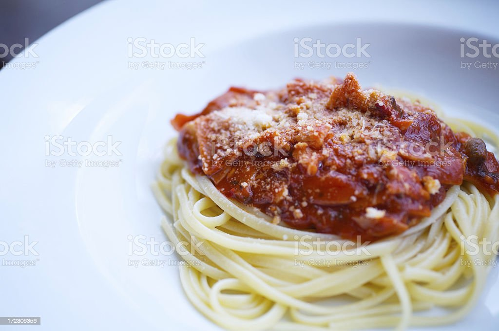 Pasta and sauce royalty-free stock photo