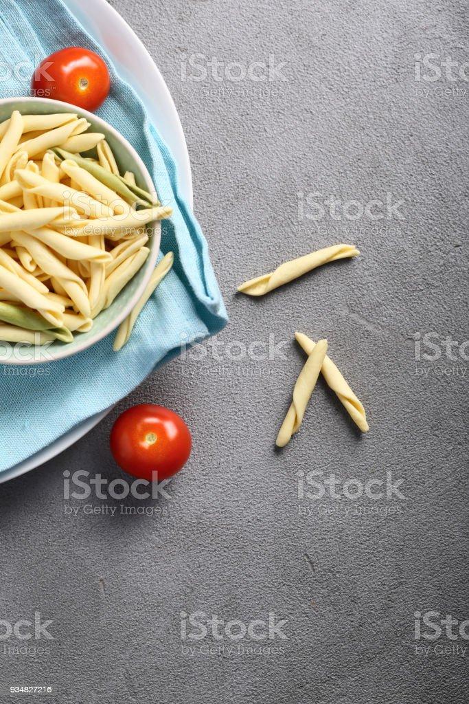 파스타와 토마토 회색, 위의 음식에 - 로열티 프리 0명 스톡 사진