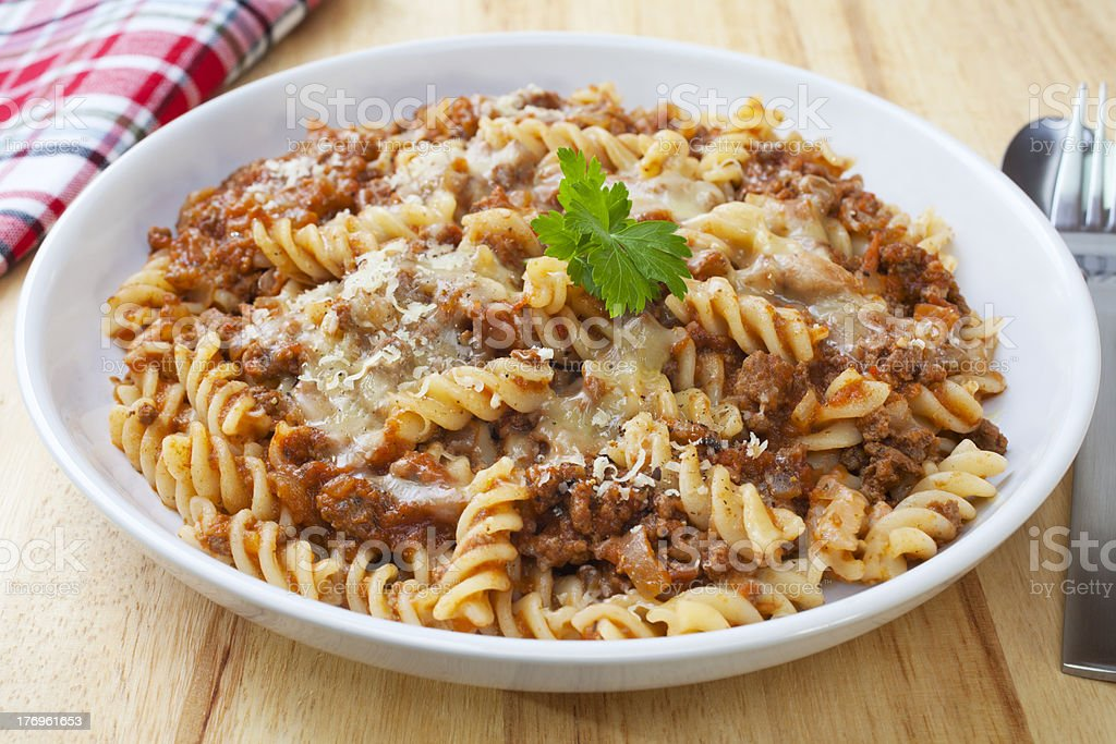 Pasta Bake with Bolognese Sauce stock photo