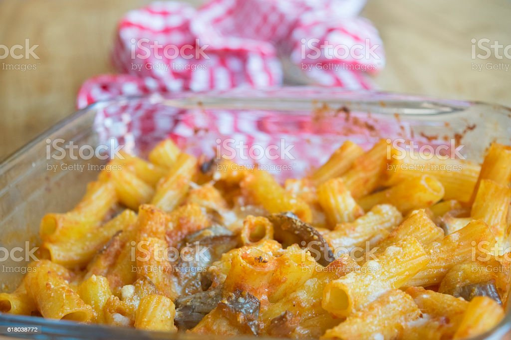 pasta bake with leftover vegetables stock photo