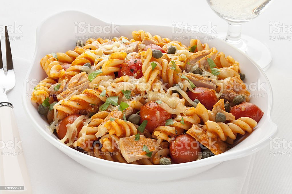 Pasta Bake with Tuna and Tomatoes stock photo