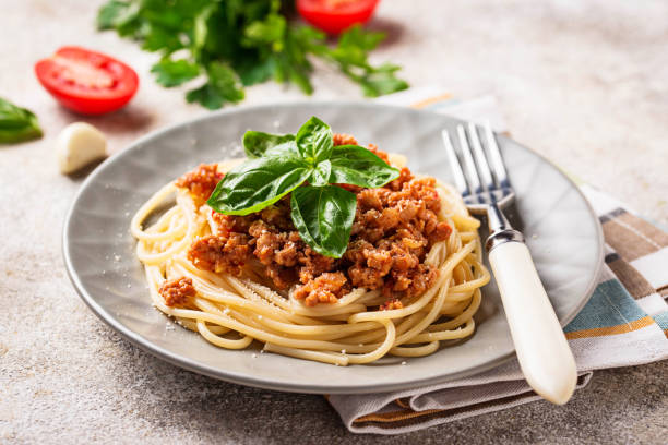 Pasta Bolognese. Spaghetti with meat sauce – zdjęcie