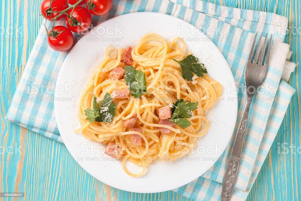 Pasta Carbonara in white plate. stock photo