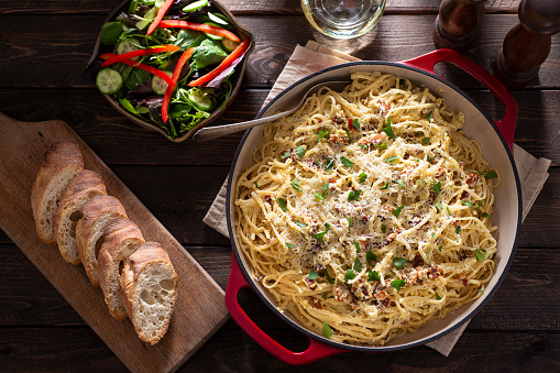Homemade Pasta Carbonara with Salad and Bread