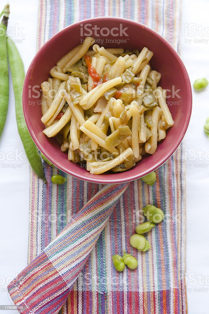 Pasta Caserecce with Fava Beans royalty-free stock photo