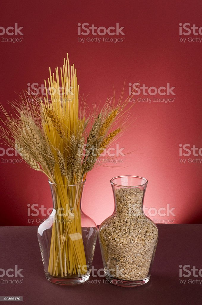 Pasta, cereals and grains in bottles. royalty-free stock photo