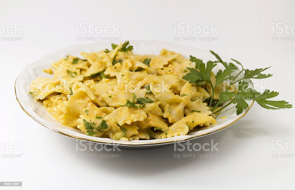 Pasta Collection - Farfalle with white fish souce royalty-free stock photo