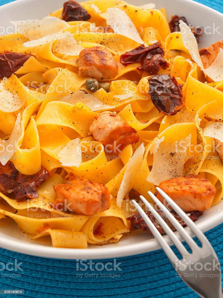 Pasta collection - Fettuccine with dried tomatoes stock photo