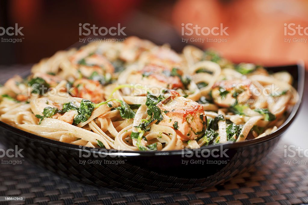 Pasta Collection - Fettuccine with salmon and spinach stock photo