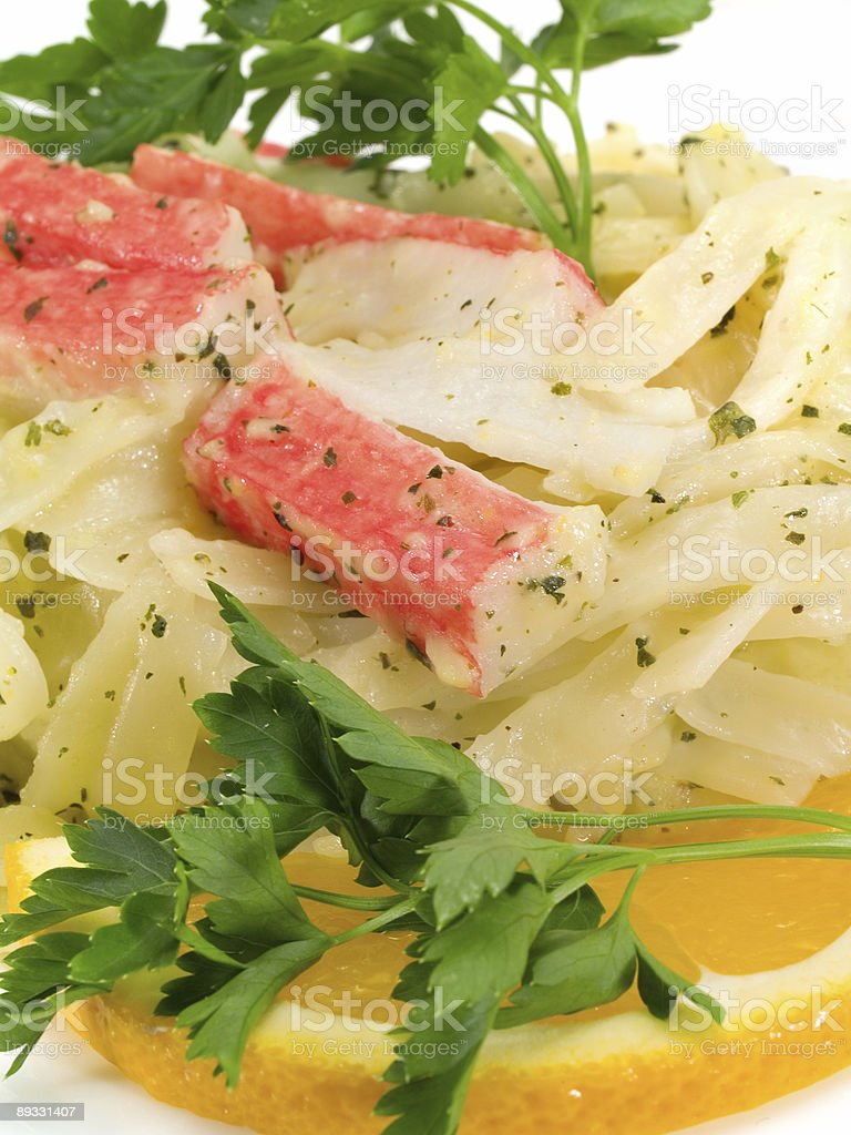 Pasta Collection - Fettucini with Crab stock photo