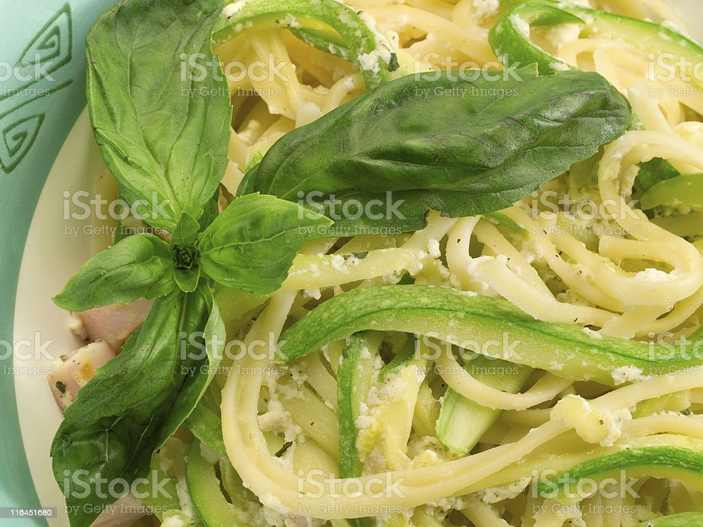 Pasta Collection - Linguini with zucchini royalty-free stock photo