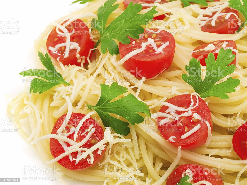 Pasta Collection - Spaghetti with cherry tomatoes royalty-free stock photo