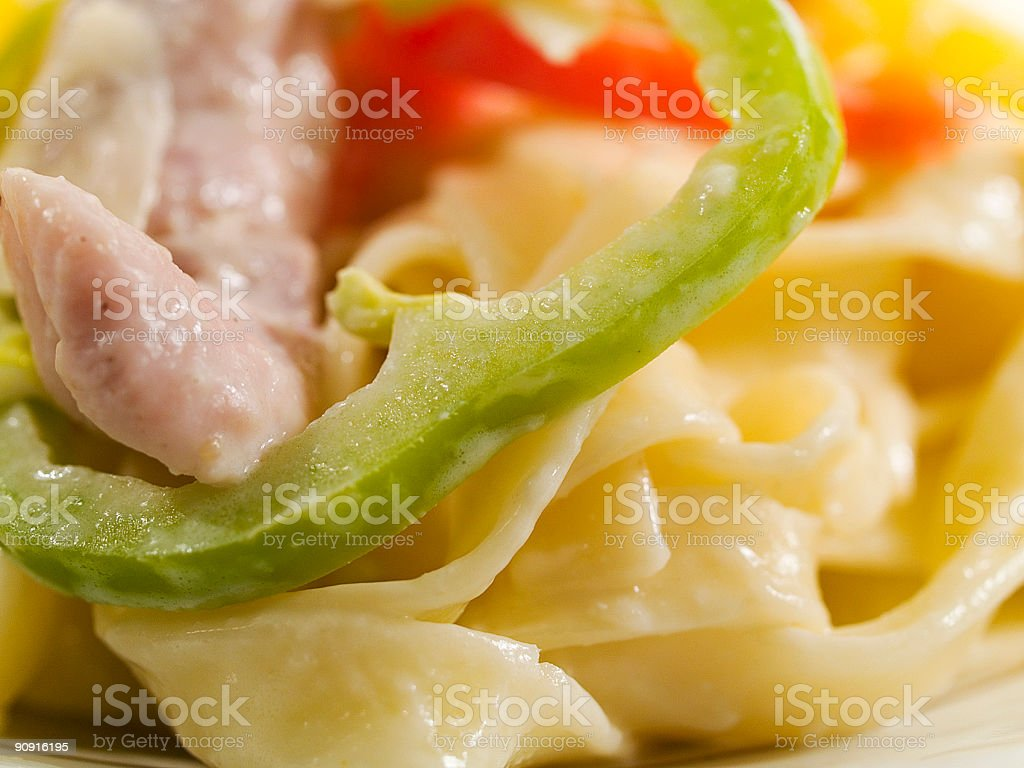 Pasta Collection - Tagliatele with chicken and pepper royalty-free stock photo