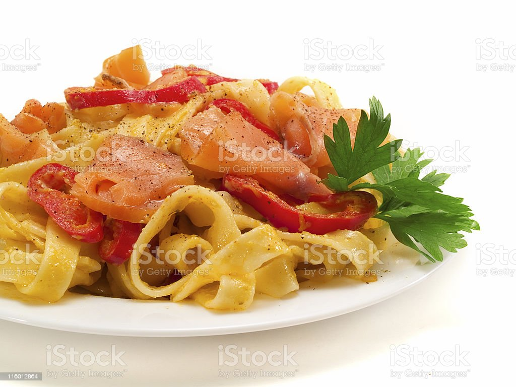Pasta Collection - Tagliatelle with Salmon and Peppers royalty-free stock photo