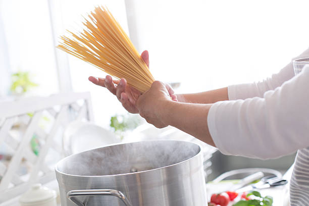 Pasta cooking stock photo