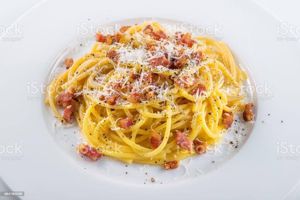 Pasta dish Spaghetti carbonara royalty-free stock photo