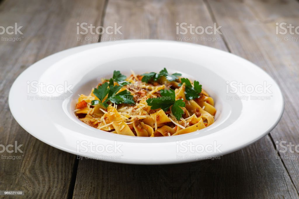 Pasta Fettuccine Bolognese with chicken royalty-free stock photo