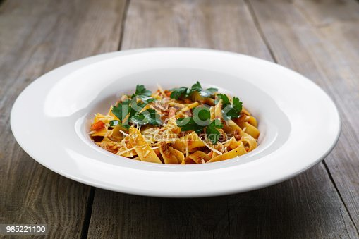 Pasta Fettuccine Bolognese With Chicken Stock Photo & More Pictures of Backgrounds