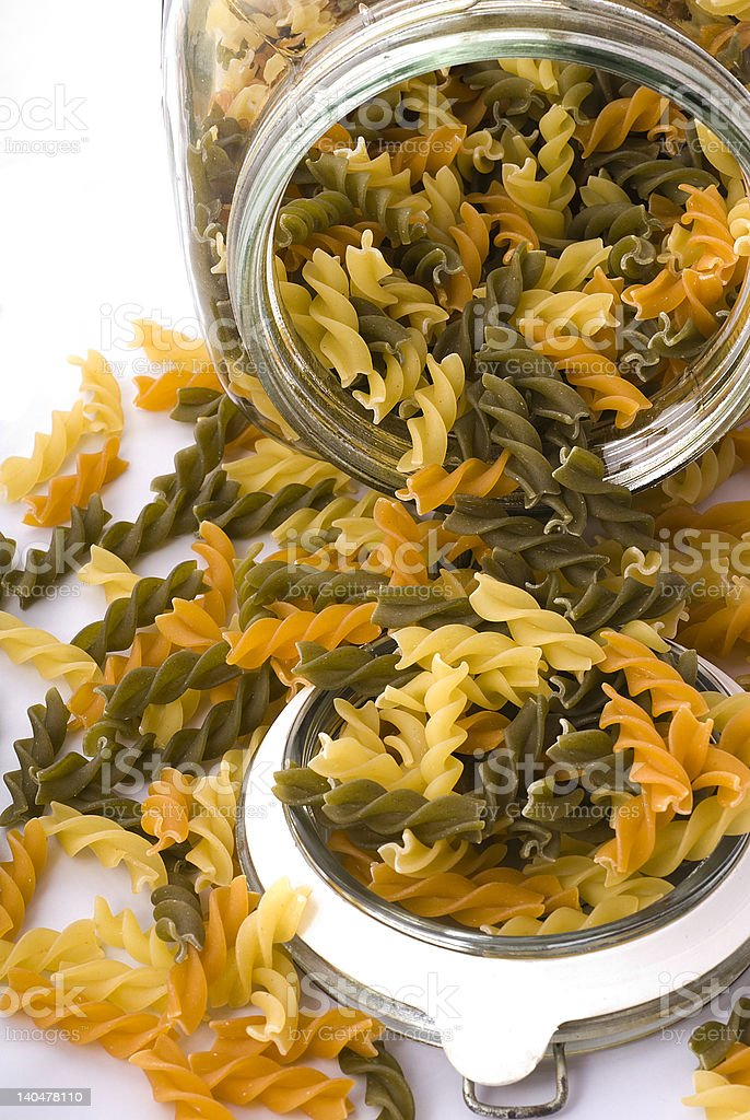 Pasta in jar stock photo
