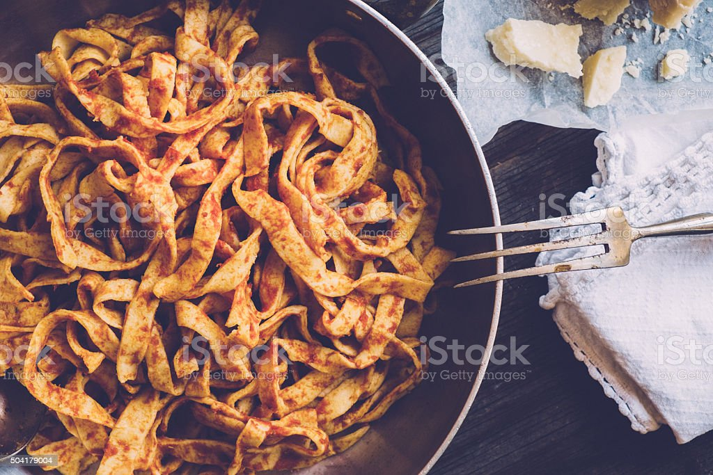 Pasta in the Pan stock photo