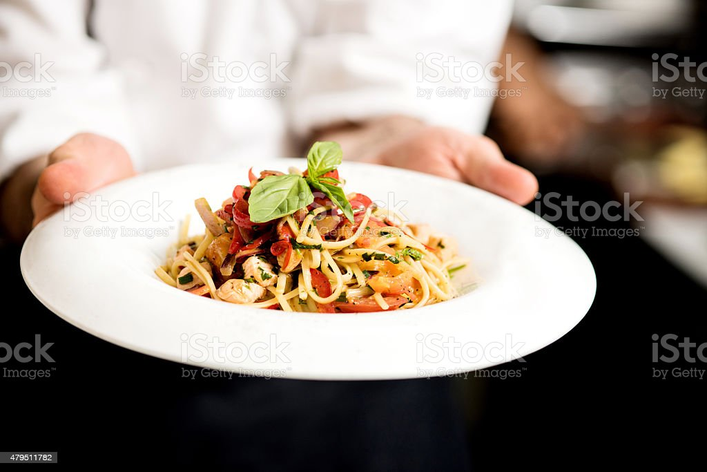 Pasta is ready to serve. stock photo