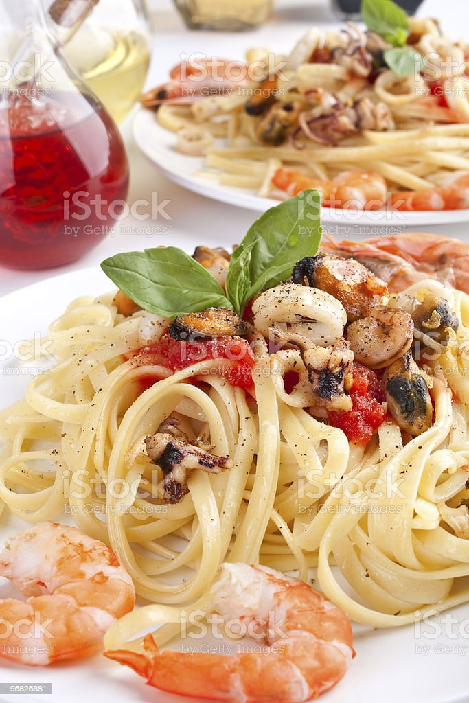 pasta linguine with seafood royalty-free stock photo