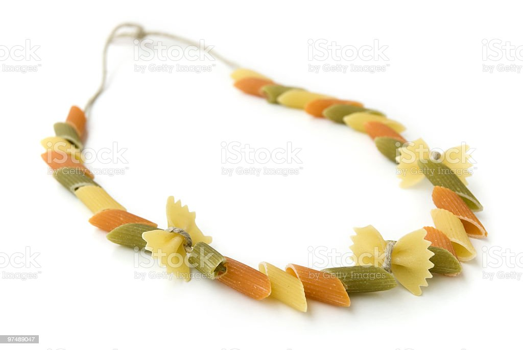 Pasta necklace stock photo